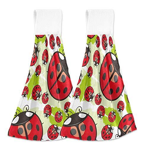 Ladybug 20200583 - Juego de 2 toallas de mano de insectos para baño, superabsorbentes, para colgar, lavables con trabillas para colgar