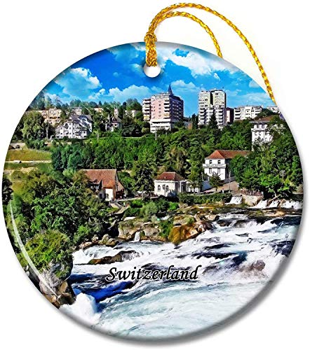 Switzerland Ornaments Switzerland Rhine Falls Zurich Tree Pendant 2.8 inch Ceramic Round Holiday Ornament Pandent for Family Friends