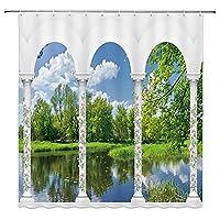 地中海の風景シャワーカーテン、バスルーム防水、洗えるバスタブ装飾シャワーカーテンフック付き S.7 120x180cm