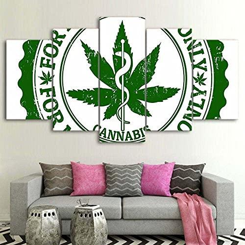 Cuadros Modernos Impresión de Imagen Artística Digitalizada Cannabis Relief Weed Marihuana Lienzo Decorativo para Tu Salón o Dormitorio 5 Piezas 150 x 80cm con Marco