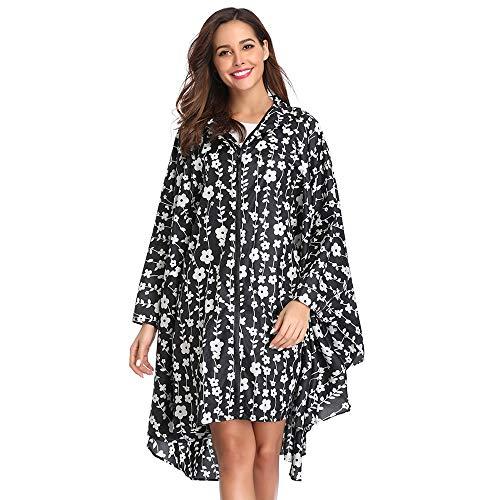 Summer Mae Regen Poncho Jacke Mantel für Erwachsene mit Kapuze wasserdicht mit Reißverschluss im Freien,Einheitsgröße,Schwarze Blumen