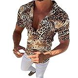 HUAZONG Camisa hawaiana de manga corta con estampado de leopardo y estampado de leopardo para hombre
