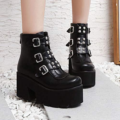 Ln-ZME Damen Plateau Schnalle Kurze Stiefel Chunky Block Heels Reißverschluss Stiefeletten Stylisch rutschfest Muffin Bottom Schuhe