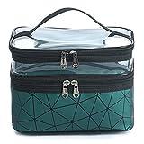 Meiyuuo Makeup Bag Travelling Double Layer Make Up Bag Organizer Medium, Cosmetic Case for Women Girls Reusable Toiletry Bags(Dark Green)