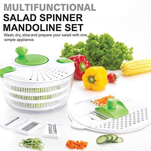 HUJI Multifunctional Large Salad Spinner and Mandoline Set – 5 Blade Slicer, Drainer, Tosser, Vegetable Dryer with a Pouring Spout