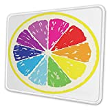 Waterproof Gaming Mouse Mat, Non-Slip Rubber Base Design for Laser Optical Mouse,Large Size,Cross Sectional View of Partioned Citrus with Transitioned