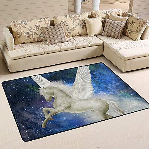 Fun-World Area Rug Unicorn Pegasus dans Les Tapis de la Zone du Ciel Tapis Moderne coloré pour Le Salon Chambre à Coucher Tapis de Chambre de bébé Lavable en Machine,150X100Cm