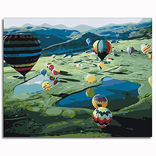 Kit de Pintura acrílica para niños y Adultos globo aerostático Pintura Pinturas-16x20 inch (40x50cm)Enmarcado madera