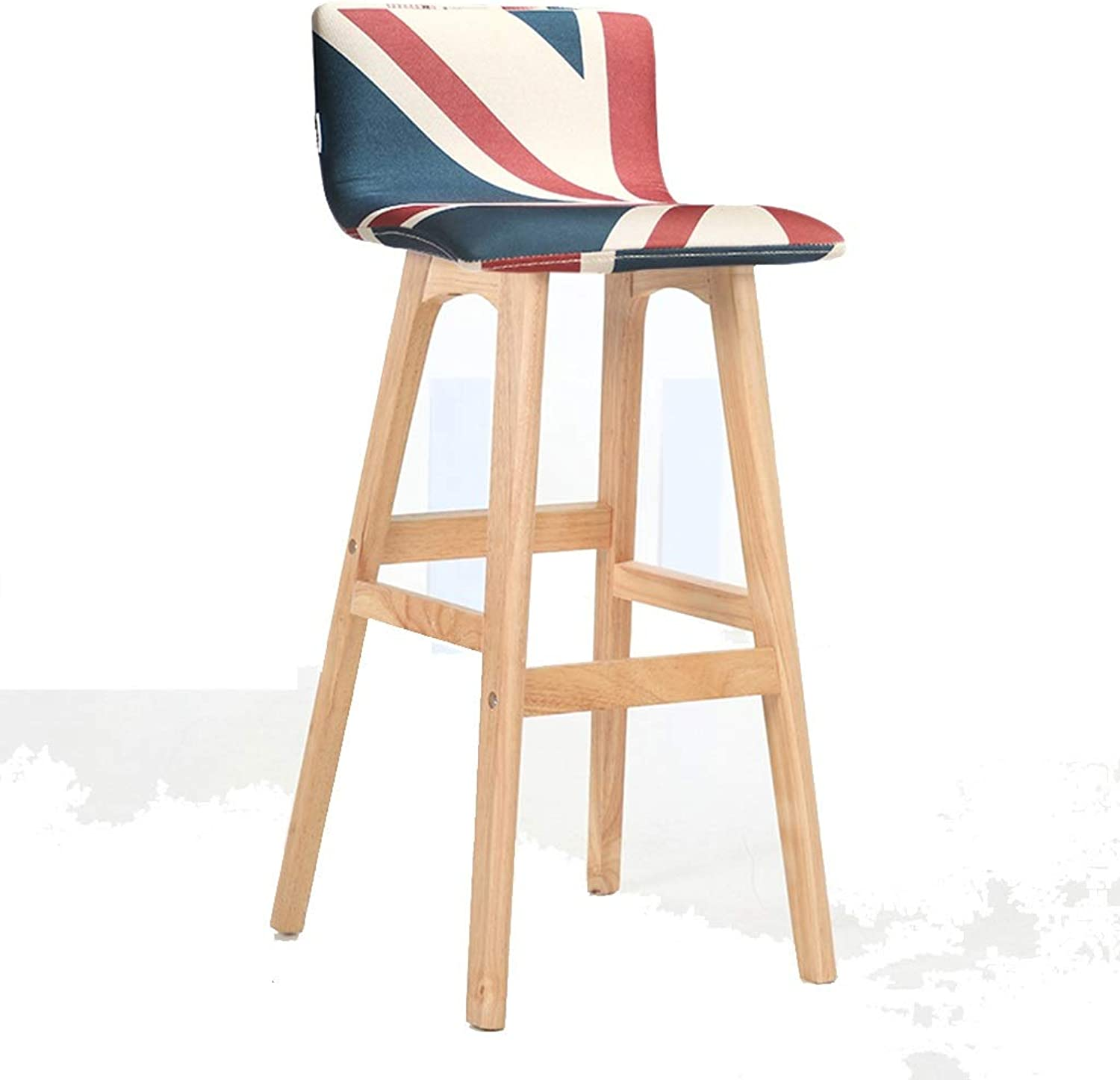 Barstools - Barstools with Backrest Kitchen Dining Chair Solid Wooden Stool Breakfast Bar Stool Fabric Linen 0520A (color   Log Frame -, Size   Pattern-1)