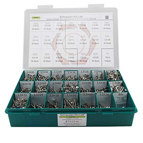 Sortiment Edelstahl A2 Schrauben, Durchmesser 3,0 und 3,5 mm, 1005 Teile ; Holzschrauben/Spanplattenschrauben mit verstärktem Kopf;...