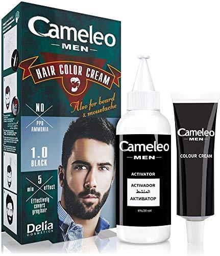 Cameleo für Männer - Permanentes Haarfärbemittel, Haartönung | Schwarze Haar Farbe für Haare, Bart & Schnurrbart | Farbeffekt in 5 Minuten | Graue Haare Abdecken | Ammoniak, PPD, Paraben FREI | 30ml