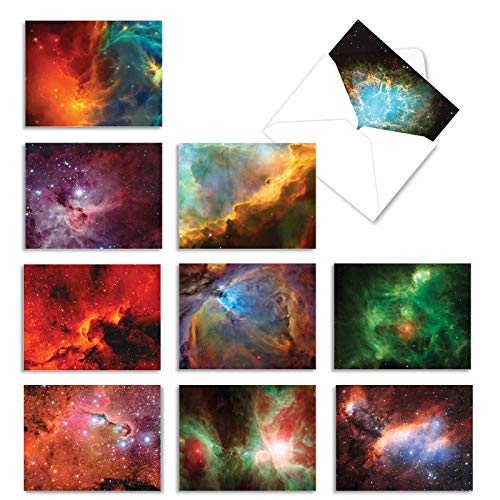 10 Small Thank You Greeting Cards with Envelopes, Assorted Space-Themed 'Galacticards' for All Occasions, Stunning Photos of Outer Space 4 x 5.12 inch M2977