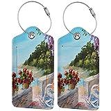 ZOANEN Gepäckanhänger Kofferanhänger mit Adressschild,Meerblick Balkon mit gemütlichen Schaukelstuhl Blumen im Sommer Himmel Ölgemälde,Kofferanhänger zur Identifizierung von Tasche,(2 Stück)