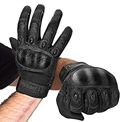 FREETOO motorcycle gloves men sport gloves full finger tactical gloves with padded back suitable for motorcycle, paintball and other outdoor activities (full finger black, L)