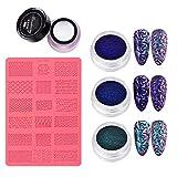 4D Sculpture Nail Art Mold Set, Plantilla de impresión de Silicona Nail Art, Kit de Molde para Esmalte de uñas (B)