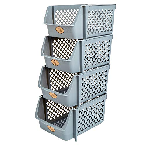Titan Mall Stackable Storage Bins for Food, Snacks, Bottles, Toys, Toiletries, Plastic Storage Baskets Set of 4, 15x10x7 Inch/bin, All Dark Grey Color, Storage Bins Stackable for Saving Place