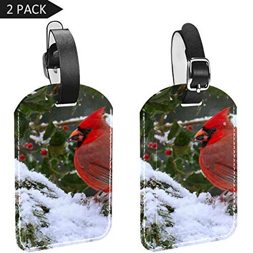 LORVIES Winter Kardinaal Vogel Bagage Tags Reizen Labels Tag Naam Kaarthouder voor Bagage Koffer Tas Rugzakken, 2 PCS
