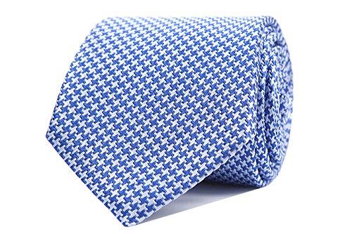 Sologemelos - Cravate Pied De Poule - Bleu 100% soie naturelle - Hommes - Taille Unique - Confection artesanale Made In Italy