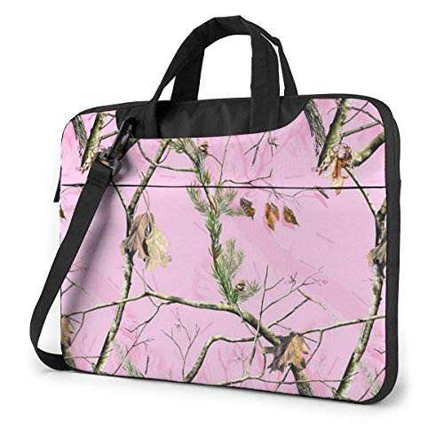 Laptop Shoulder Bag Carrying Laptop Case, Pink Camo Tree Computer Sleeve Cover, Business Briefcase Protective Bag