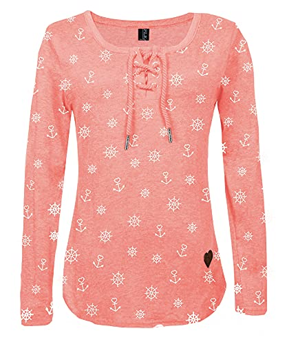 FLEASEE Damen Casual Langarm-Shirt mit Kordeln Lady Basic Langsleeve Anker Druck Oberteile