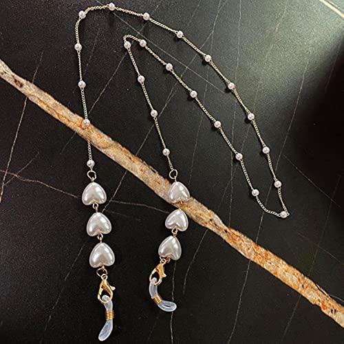 BXXPUMM Love Heart Chain Pearl Chain Colgante, Collar, Correa de Cadena, Colgar en el Cuello, Soporte para Gafas, Cuerda para Mujeres-China, Oro