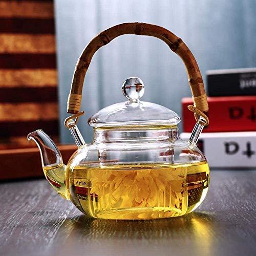 Bouilloire induction Home Théière Théière à théière 600 ml Théière à la cuisine pour une avec verre résistant à la chaleur pour théière en verre de thé et café pour bureau extérieur WHLONG