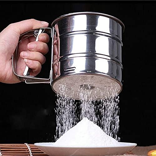 EASONGEE Tamices de Polvo de tamiz de harina de Acero Inoxidable de Mano Colador de Malla de azúcar tamizado a Mano Accesorios para Hornear