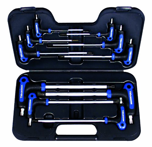 AMPRO T22900 T Handle Tamper Proof Star and Star Key Wrench Set, 10-Piece