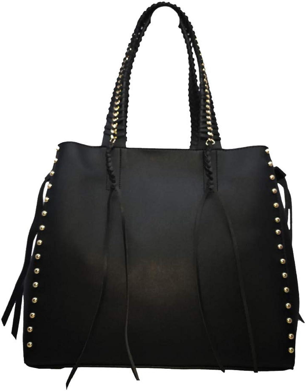 JHMY Handtasche, Beiläufige Große Große Große Kapazitäts-Quasten-Niet-Handtasche Einfache Vielseitige Umhängetasche (38  18  32CM) 4 Farben Optional,schwarz-M B07NKYHRCF  Verhandlung 9631b1