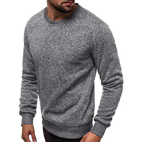 MITCOWBOYS Sudadera con capucha para hombre, cuello redondo, de un solo color, informal, de manga larga, para otoño e invierno, gris oscuro, XXL