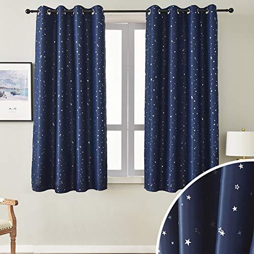 NAPEARL kinderzimmer vorhänge, Romatisch blickdichte vorhänge mit silbernen Sternen, 2 Stücke kinderzimmer Gardinen mit Ösen (2X H 137 X B 132cm, Dunkelblau)
