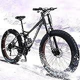 Fat Tire Bicicletas De Montaña 24/26', 7 Velocidad Bikes Bicicleta Montaña, Marco De Acero De Alto Carbono, Doble Suspensión Completa Doble Freno De Disco,26'