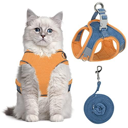 Katzengeschirr Geschirr für Katzen, Katzengeschirr Ausbruchsicher, Cat Harness, Verstellbar Weich Kätzchenweste mit Reflektierenden Streifen für Kitten Hunde Chihuahua