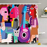 Cortinas de baño/Bath Curtain, Shower Curtains 72 x 72 Inches Picasso Dancing Couple Woman Playing Guitar Fine Dance Music Waterproof Fabric for Bathroom Home Decor Set with Hooks