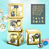 BaraBox Gold Baby Blocks For Baby Shower Decorations and 26-Alphabet Letters Set. Baby Blocks Decorations For Baby Shower Is Most Popular Baby Shower Decorations for Boy, Girls And Neutral In 2021! In Set 4 Pcs Gold Baby Shower Boxes With Letters For Baby Shower