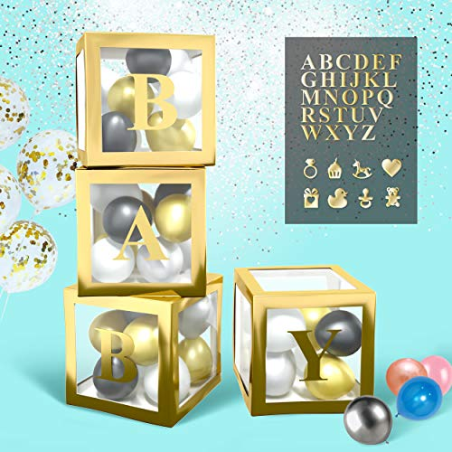 BaraBox Gold Baby Blocks For Baby Shower Decorations. Baby Blocks Decorations For Baby Shower Is Most Popular Baby Shower Decorations for Boy, Girls And Neutral In 2020! In Set 4 Pcs Gold Baby Shower Boxes With Letters For Baby Shower