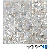 Guellin 10 PCS Azulejos de Mosaico de Cristal 30X30X2CM Azulejos de Mosaico Baldosas de Cerámica para Piscinas, Baño, Cocina Mosaic Tile (Blanco)