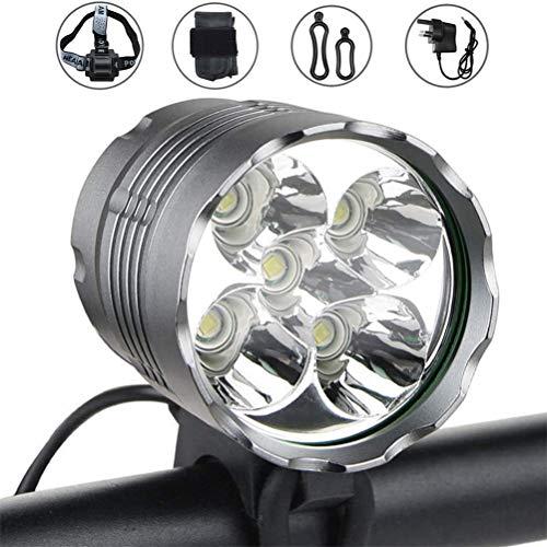 CNAJOI-TDFY Superhelles Fahrrad-Frontlicht, 6000 Lumen, IPX6, wasserdicht, 3 Schaltmodi, Scheinwerfer & 4400 mAh eingebauter Akku, für Nachtfahrten, Radfahren