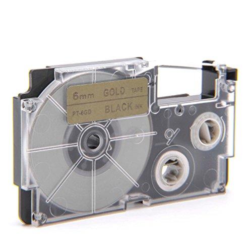 vhbw Kassette Patronen Schriftband 6mm kompatibel mit Casio KL-60, KL-120, KL-70E, KL-100E, KL-300, KL-750E, KL-780, KL-1500, KL-7000 Ersatz für XR-6GD, XR-6GD1.