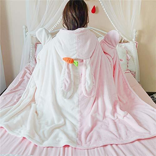 Leuke Bunny Super zachte capuchon teenmeisje Kawaii beer met oren Cape Lolita Warm Comfy Wearable vrouwen deken kantoor luier Eén maat)8y-pink White