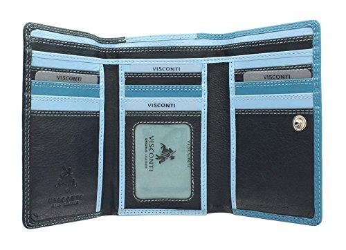 Visconti Colección Rainbow Bora Monedero de Cuero de Tri-Pliegue RB43 Bloqueo RFID Azul Multi
