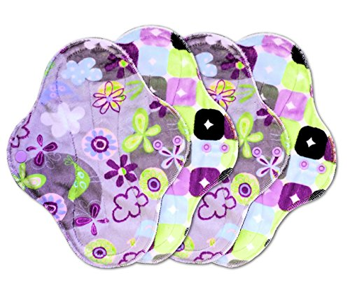 PlushPad Minky Cloth Pad, Medium Flow, Set of 4 by Talulah Bean (Amethyst/Serendipity)