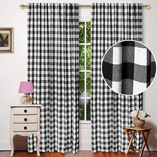 Window Panels Curtain in Gingham Check Cotton Fabric 50x96 Black/White, Set of 2,Farmhouse Curtain, Tab Top Curtains, Room Darkening Drapes, Curtains for Bedroom, Curtains for Living Room, Curtains