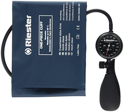 Riester 1250-152 R1 Blutdruckmessgerät mit desinfizierbare polsterlo Manschette, shock-proof, Erwachsene, starke Arme, 1-Schlauch, latexfrei, schwarz