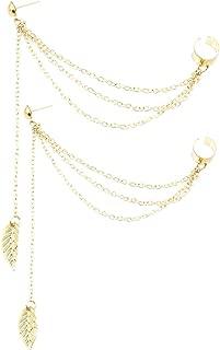 Leaf Tassel Ear Crawler Earring Climber Multi Layered Studs Cuffs Ear Wrap Pin Vine Charm Clip On Jewelry