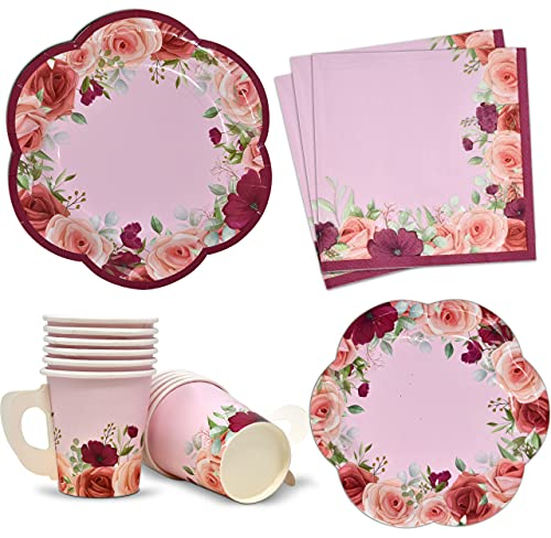 24 Disposable Tea Cups and Saucers Sets Floral Design 7' Flower Scallop Shaped Plates 24 5' Saucer Paper Plate 24 5 oz. Tea Cup with Handle 48 Lunch Napkins for Spring Wedding Birthday Party Supplies