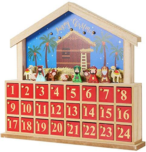 BRUBAKER Reusable Wooden Advent Calendar to Fill - Bethlehem with 24 Doors - DIY Christmas Calendar 13.58 x 12.60 x 2.36 inches