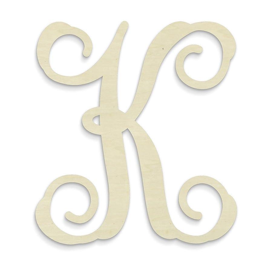 UNFINISHEDWOODCO Single Vine Unfinished Monogram K Decorative Letter, 13-Inch