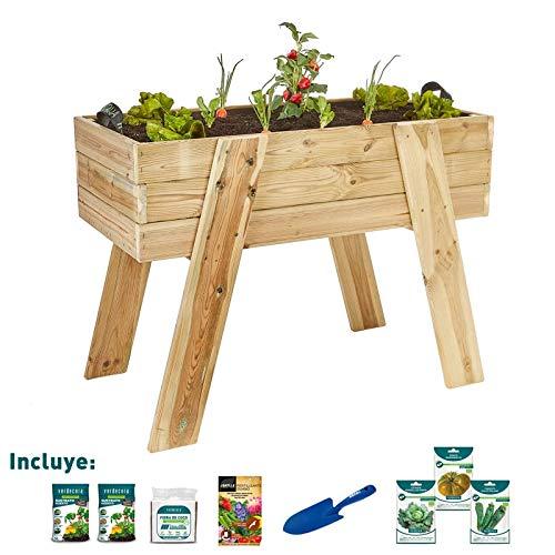 verdecora | Kit de Cultivo Huerto Urbano XL 100x50x75cm - Kit de Cultivo en casa - Huerto Urbano Madera - Huertos Urbanos - Mesa de Cultivo huerto Urbano