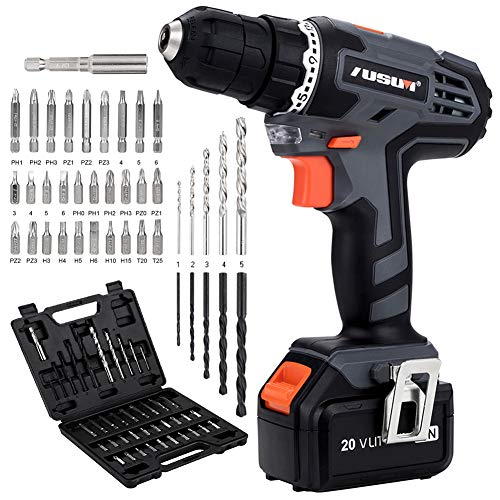 Cordless Drill 20V MAX LithiumIon Electric Driver Set Power Drill with 3/8 inches Keyless Chuck Max Torque 22Nm Single Speed 700RPM 40Pcs Bits Home Tool Kit in Storage for Drilling Wood Metal